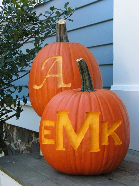 etched monogram pumpkin